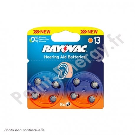 Piles auditives Rayovac V13AE 1.4V Blister de 8 piles